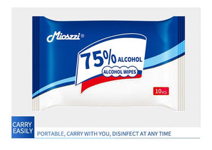"Alcohol Wipes TRAVEL SIZE (10 Wipes/Package), Large (6""x 6""), 75% Alcohol"