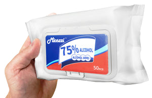 "Alcohol Wipes (50 Wipes/Package), Large (7""x 5""), 75% Alcohol (AS LOW AS $4.50/PACKAGE)"