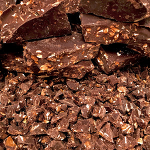 Mound of organic dark chocolate