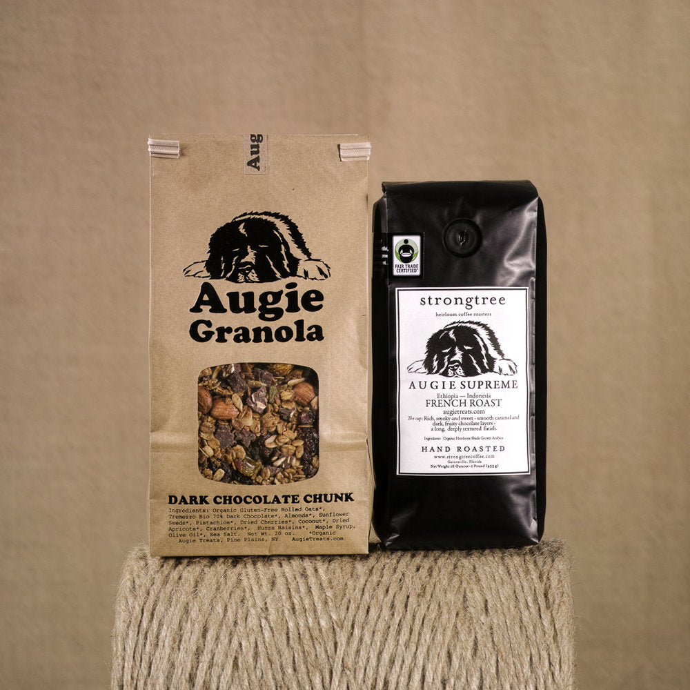20oz dark chocolate chunk granola and 16oz coffee