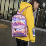 Holographic Soft Laser PU School Backpack
