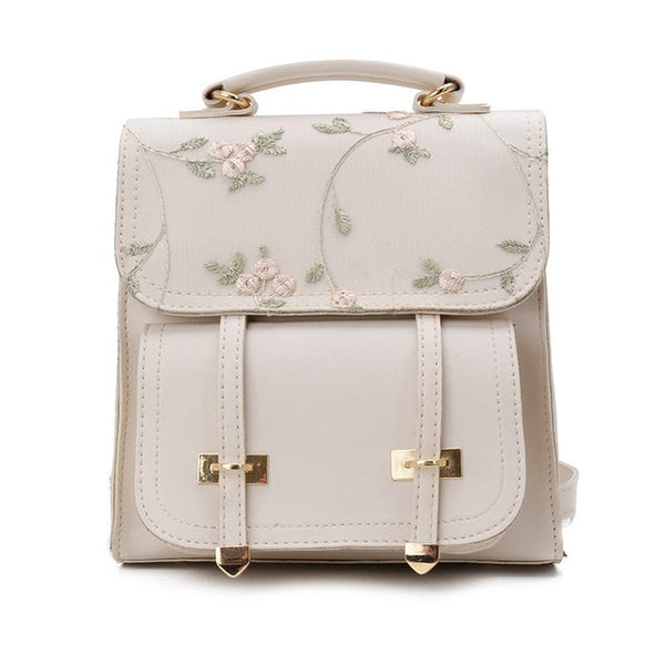 Leather Floral Embroidery Design Rucksack