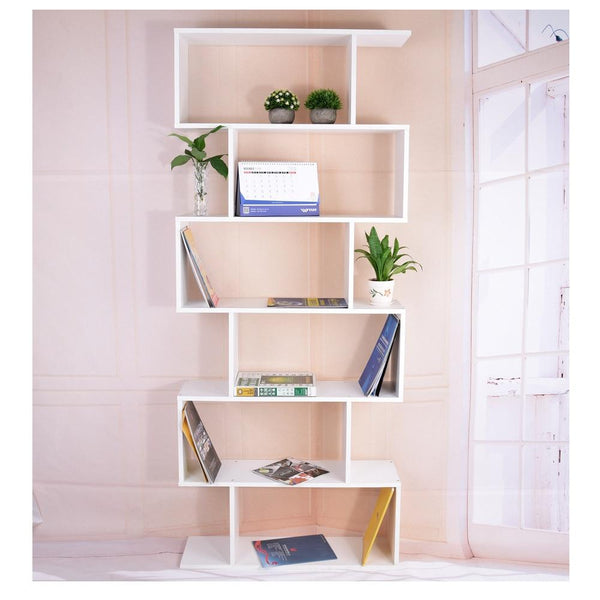 Panana Livingroom/ Study Room Book Shelf Creative Art Display 6 Shelves Bookcase Decorative Bookshelf White / Black