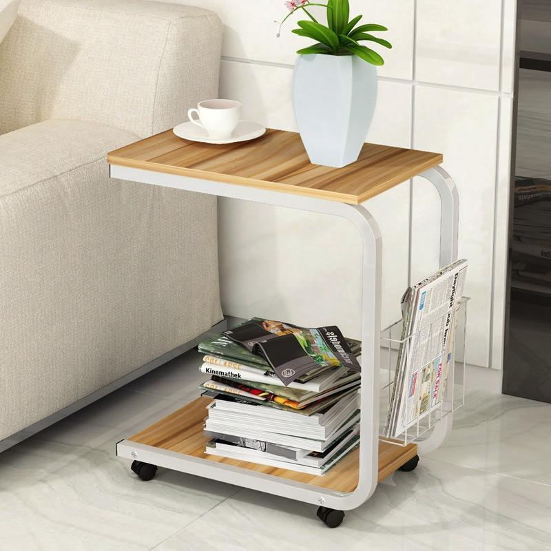 Small side table simple bedroom small coffee table moving bedside  living room mini sofa cabinet with storage basket WF705918