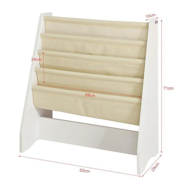 SoBuy FRG225-W, Children Kids Bookcase Book Shelf Sling Storage Rack Organizer Display Holder