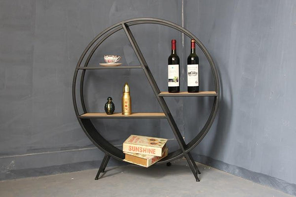 Simple modern wrought iron plaid bookcase Features restaurant bar floor rack living room partition Wall bookcase