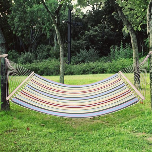 Stylish Printing Style Hammock Beach Swing Leisure Hanging Bed Double Beds for Outdoor Camping Travel Beige