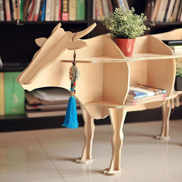 "High-end 47"" size cow style book shelf bookcase self-build puzzle furniture"