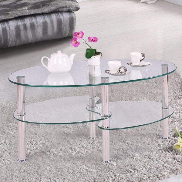 Goplus Tempered Glass Oval Side Coffee Table Shelf Chrome Base Living Room Clear Black Modern Coffee Table HW54317
