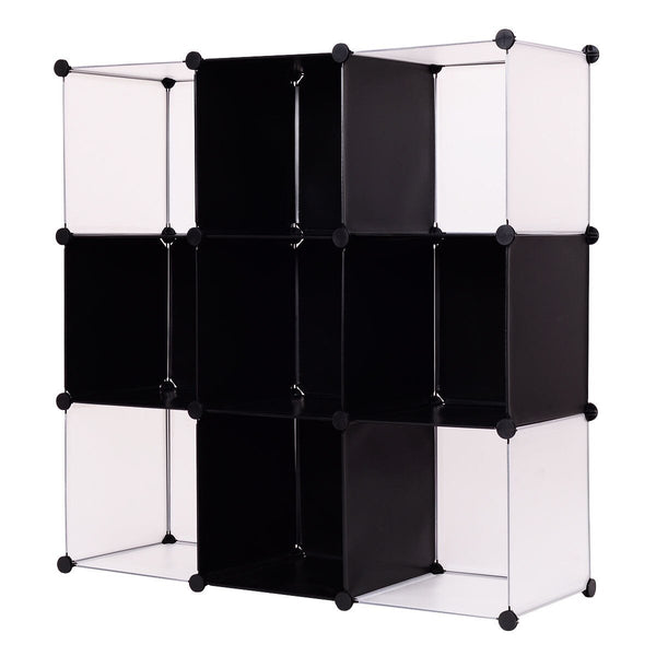 Giantex 3 Tier 9 Cubic Bookcase Living Room Storage Cabinet Shelf Modern DIY Closet Organizer Office Home Furniture HW54798
