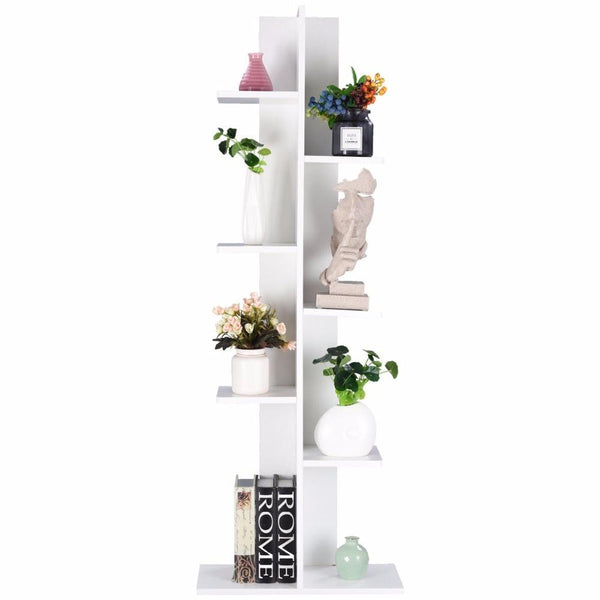 Giantex Open Concept Bookcase Plant Display Shelf Rack Storage Holder Wooden White Living Room Furniture HW57374WH