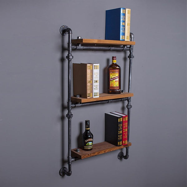 Famirosa Wall Hanging ThreeTiers Iron Pipe Book Shelf Retro Art Display Shelves Bookcase Decorative Bookshelf For Living Room
