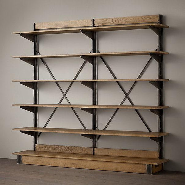 LOFT American country style wrought iron shelf vintage wood display shelf bookcase shelf |