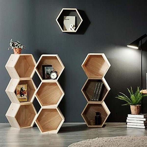 Creative Bookcase Living Room Display Shelf Hexagonal Personality Bookcase Landing Combination Children's Shelf  Wood Furniture