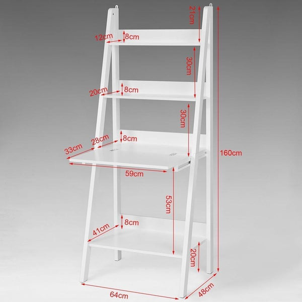 SoBuy FRG115-W White Storage Display Shelving Ladder Shelf Bookcase with Desk/Memo Board and 3 Shelves