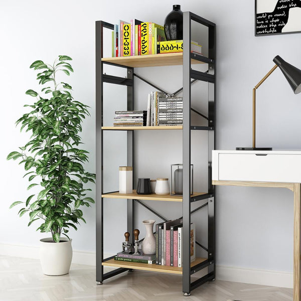 DEWEL 4 Tier Bookcase Vintage Industrial Rustic Bookshelf Rack Metal 61'' Bookcase Standing Storage Shelf Units for Home Office