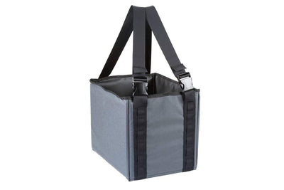 "A hard sided grey fabric  cube box with wide shoulder straps. About 18"" square. Cube Caddy - Range Tote - Sharps Mountain Outdoor Gear;"