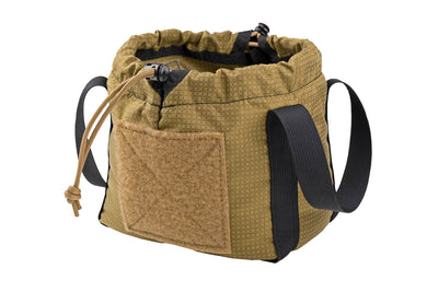 Medium sized brown cinch sack with black webbing handles and a drawstring closure with barrel locks - Drawstring Brass Bag Sharps Mountain Outdoor Gear - Pigg River Precision