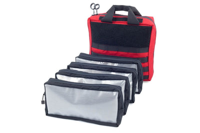 Twelve inch square first aid bag with four pouches that go inside. First Aid Bag - Large  - Sharps Mountain Outdoor Gear