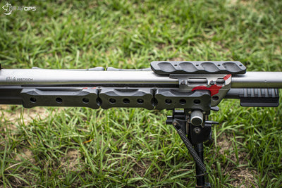 Rifle barrel with counterweights bolted to it. Gray Ops M-Lok External Weights - Sharps Mountain Sharpsmountain.com