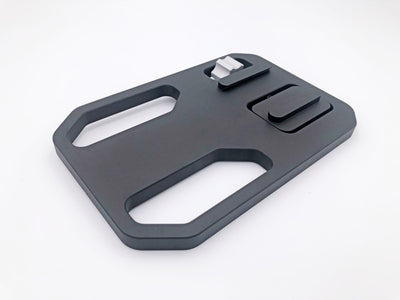 Metal gun plate with Arca Swiss Clamp. Gray Ops Mini Gun Plate - Sharps Mountain - SharpsMountain.com