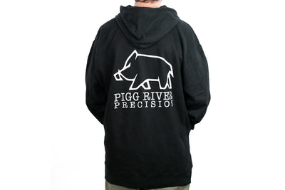 Pigg River Precision Hoodie back view with large logo. - Sharps Mountain - SharpsMountain.com