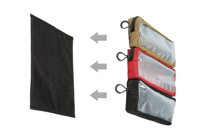 "Shows how  3 twelve by four inch pouches can fit on this twelve by twelve inch velcro mounting panel. Pouch Mounting Panel 12x12"" - Mount Pouches Anywhere - Sharps Mountain - SharpsMountain.com"