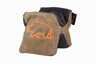 Brown rifle support bag with sticky rubber fabric top and bottom. - Sticky Pint Sized Gamechanger™ with Pigg River Logo