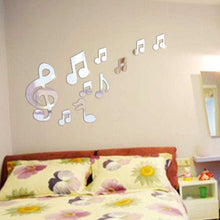 Load image into Gallery viewer, Musical Notes 3D Mirror Wall Decal Sticker | Green Smokey