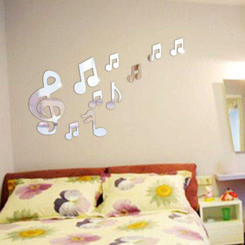 Musical Notes 3D Mirror Wall Decal Sticker | Green Smokey