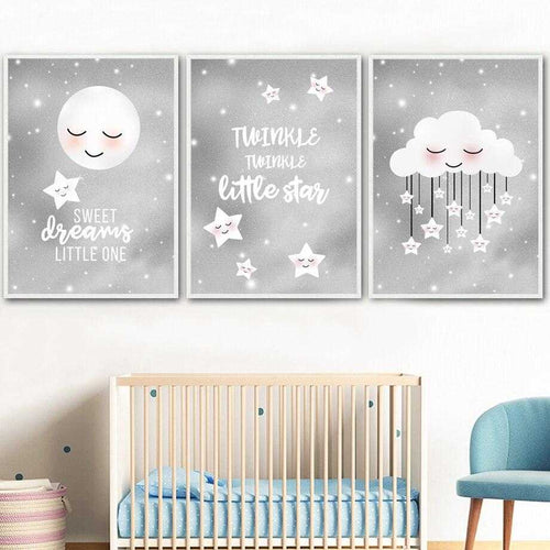 Little Star Moon Cloud Nursery Wall Art | Ivory Ariadne