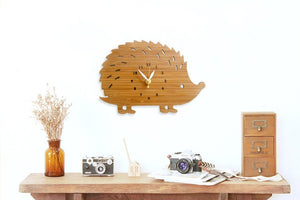 Children's Bamboo Hedgehog Wall Clock | Fuchsia Molly