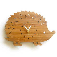 Load image into Gallery viewer, Children's Bamboo Hedgehog Wall Clock | Fuchsia Molly