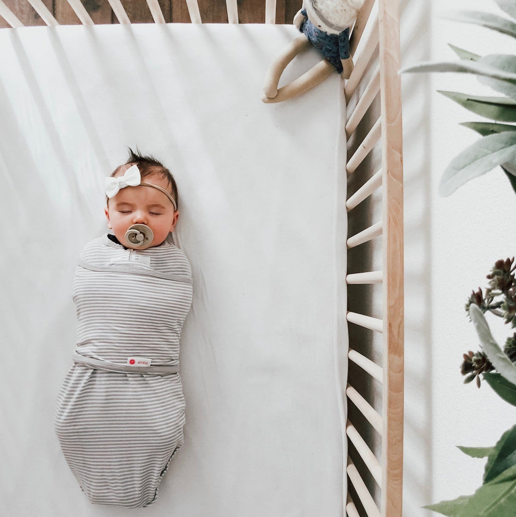 Classic 2-Way Swaddle | Gray Stripe | Teal Sooty