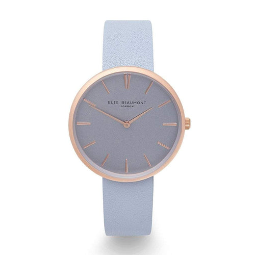 Elie Beaumont Blue Personalised Leather Watch