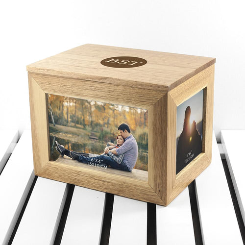 Personalised Oak Photo Cube Keepsake Box | Petit quelque chose