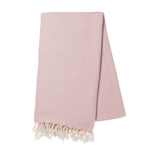 Blush Herringbone Turkish Towel | Ariel