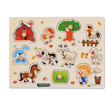 Load image into Gallery viewer, Baby Toys Montessori wooden Puzzle/Hand Grab Board Set Educational Wooden Toy Cartoon Vehicle/ Marine Animal Puzzle Child Gift | Petit quelque chose