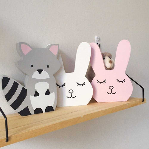 Nursery Decor Wooden Fox Bunny Figurines | Petit quelque chose