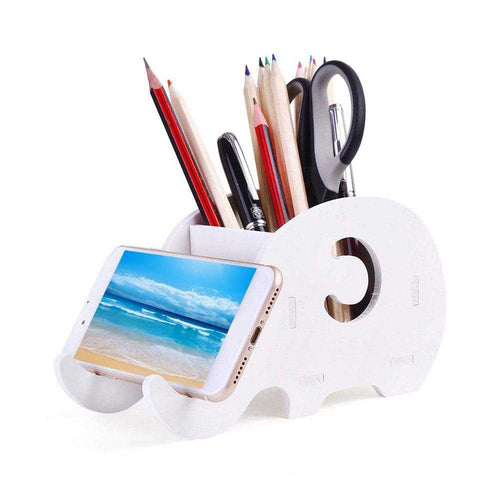 Wooden Elephant Pen Holder Phone Stand | Petit quelque chose