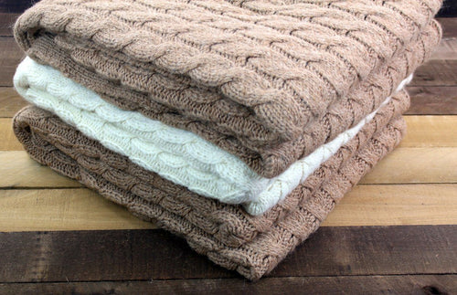 USA Grown Big Cable Alpaca Blanket | Milky Way