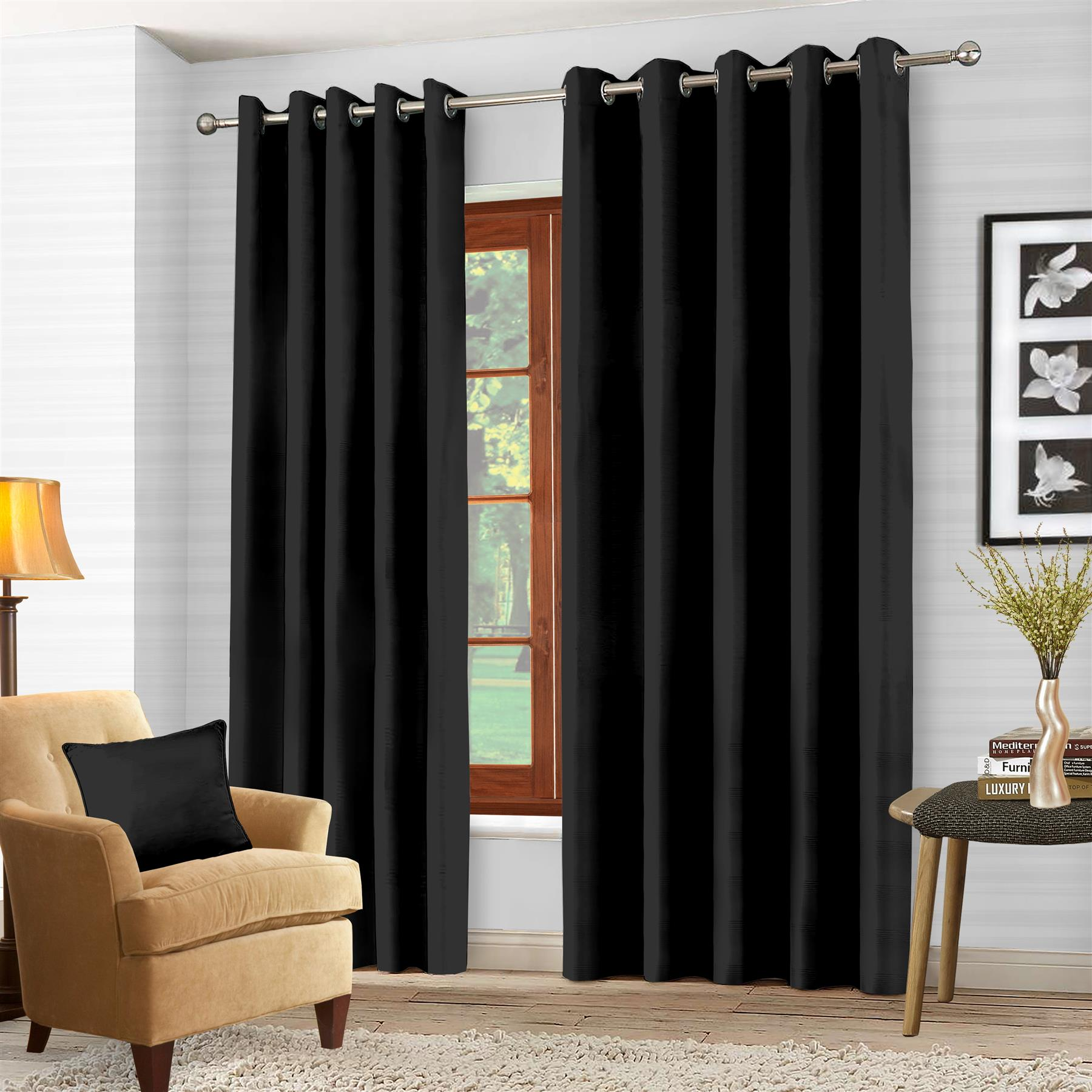 "Blackout eyelet curtain Pair-66"" x 54""-Black - smrt-life.com"