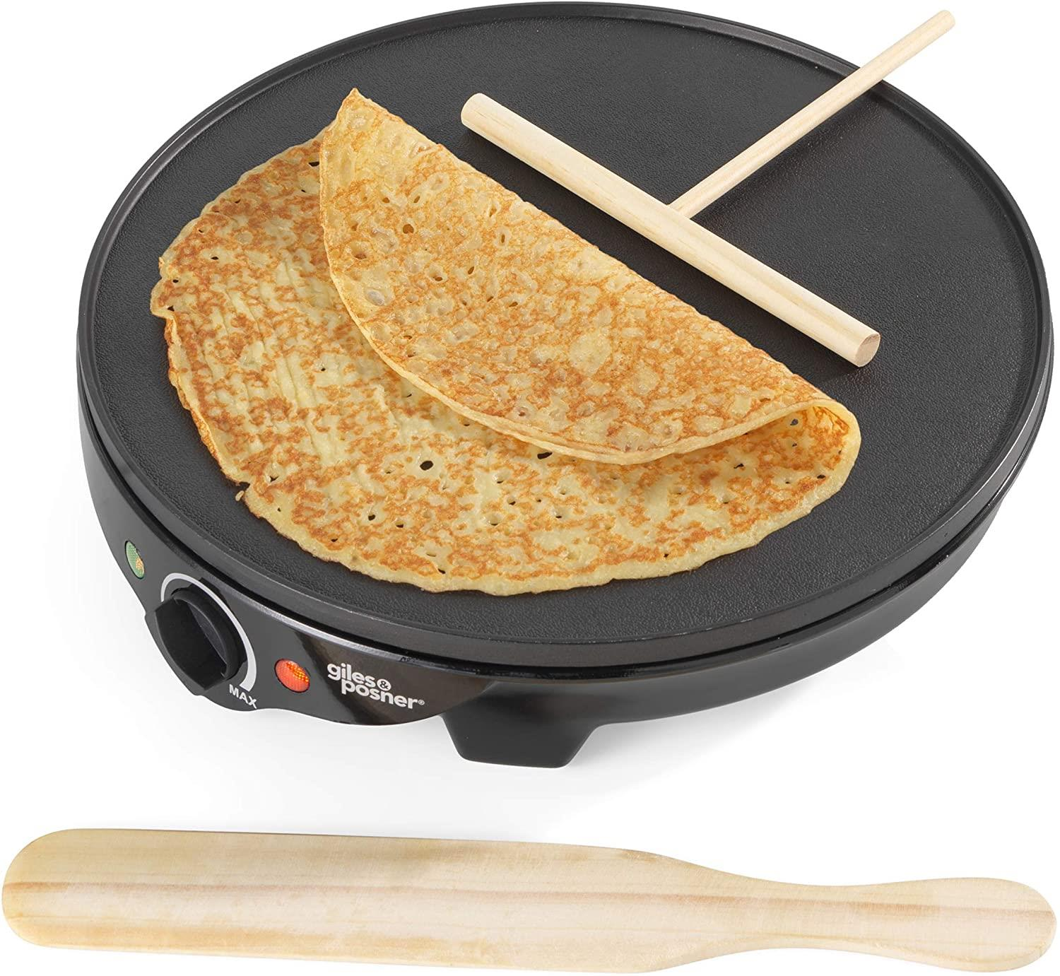 Giles & Posner  1300 W Electric Non Stick Plate Crepe Maker Pancakes, Crepes and Galettes in Minutes - smrt-life.com