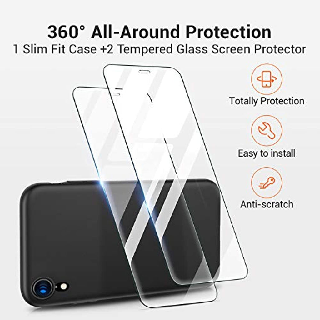 Ultra Slim iPhone XR Case with 2 Tempered Glass Screen Protector Hard Silky Matte Finish - smrt-life.com