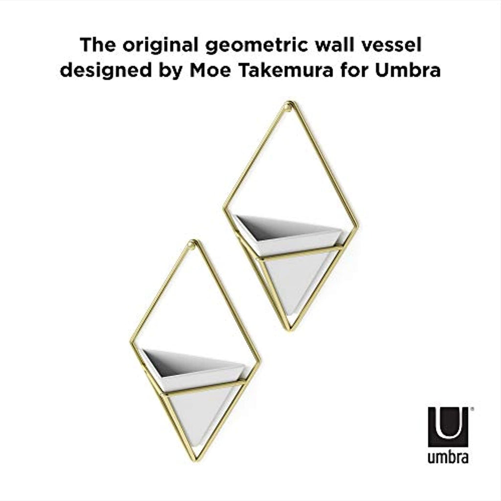 Umbra Hanging Planter Vase & Geometric Wall Decor Container  - White Ceramic/Brass (Set of 2)
