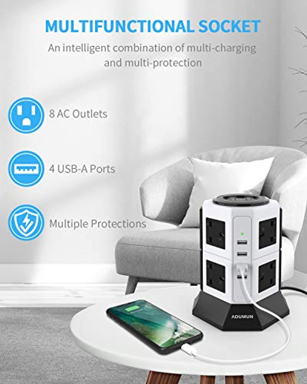 Power Strip Tower Extension Lead, 8 Way Outlets 4 USB Ports - smrt-life.com