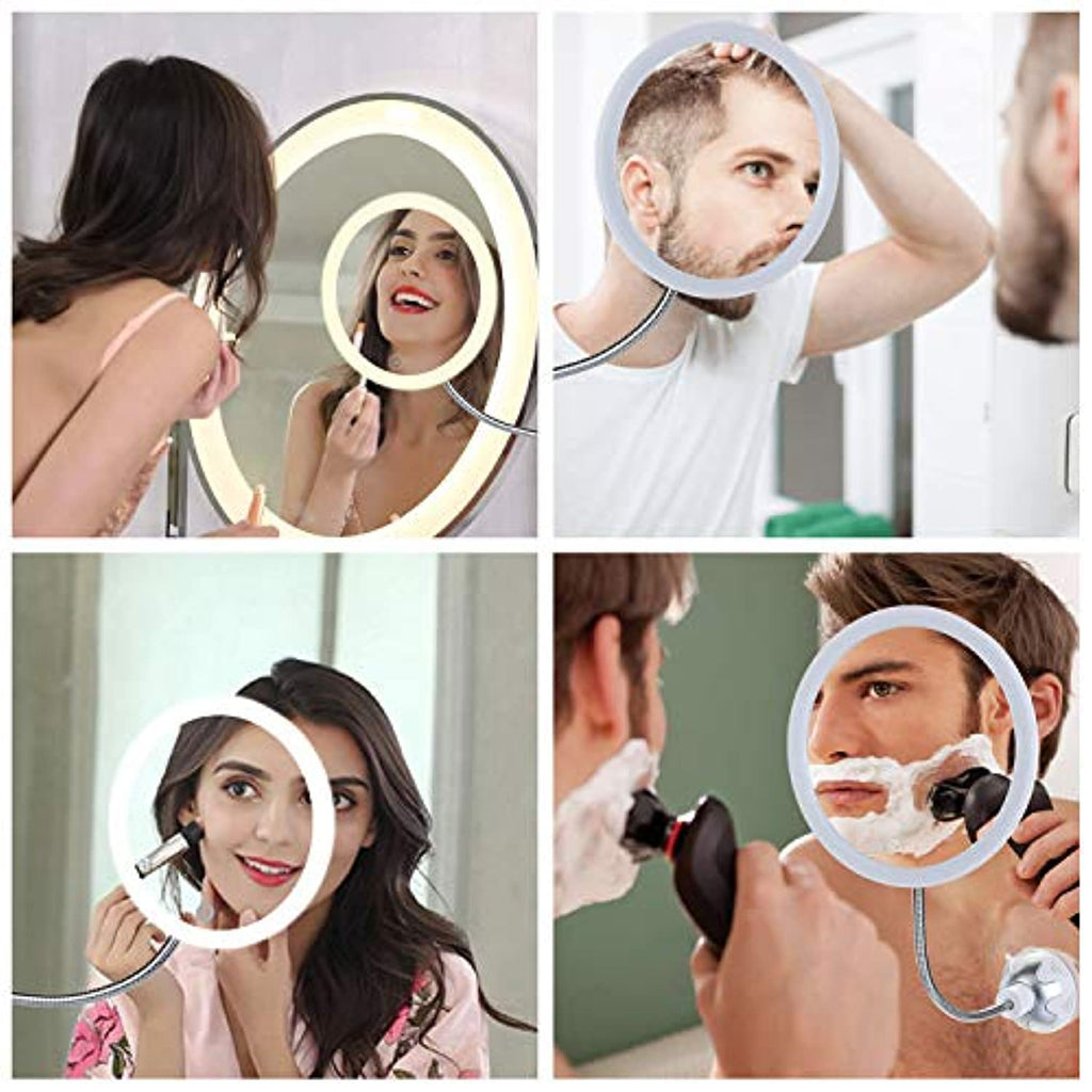 Wall Mount Vanity Mirror with Suction Cup, 10x Magnifying Make up Mirror with LED Lights
