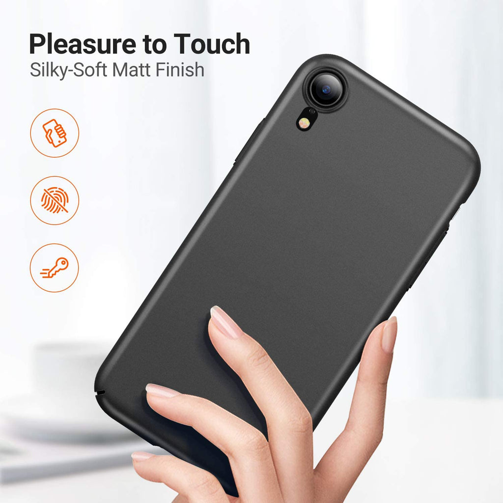 Ultra Slim iPhone XR Case with 2 Tempered Glass Screen Protector Hard Silky Matte Finish