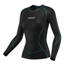Load image into Gallery viewer, XOGO PERFORMANCE XP300 WOMEN'S BASELAYER TOP  - Black/Sky Blue - XOGO