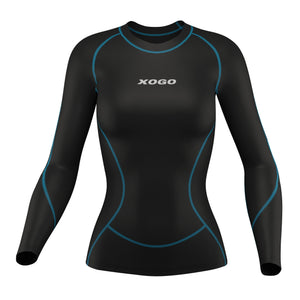 XOGO PERFORMANCE XP300 WOMEN'S BASELAYER TOP  - Black/Sky Blue - XOGO